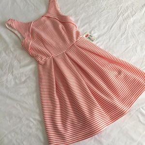 Orange and White Pleated Striped Dress